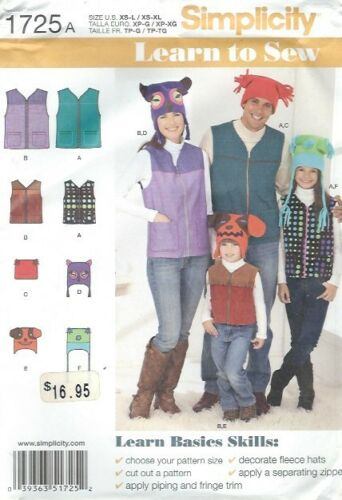 Simplicity 1725 Family Vests and Fleece Hats  Chest//Bust 23 to 48 Sewing Pattern