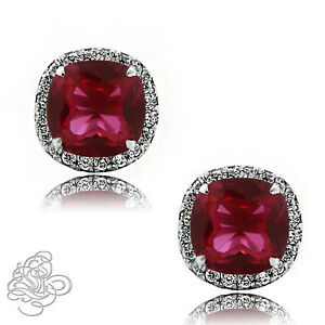 2-49-CT-HALO-CUSHION-RUBY-amp-WHITE-SAPPHIRE-925-STERLING-SILVER-STUD-EARRINGS