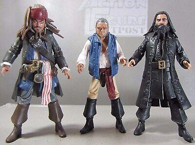 JACK SPARROW Pirates Caribbean Lot of 3 JAKKS Action Figures BLACKBEARD, GIBBS