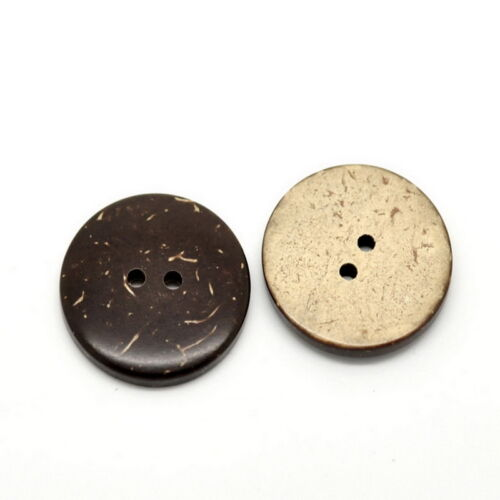 "1/"" 25PCs Brown Coconut Shell 2 Holes Sewing Buttons Scrapbooking 25mm Dia."