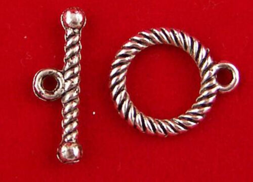 5 Stück Toggles Knebelverschluss Knebelverschlüsse antiksilbern Knebel 14mm *