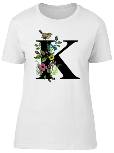 Letter K With Birds And Plants Women/'s Tee Image by Shutterstock