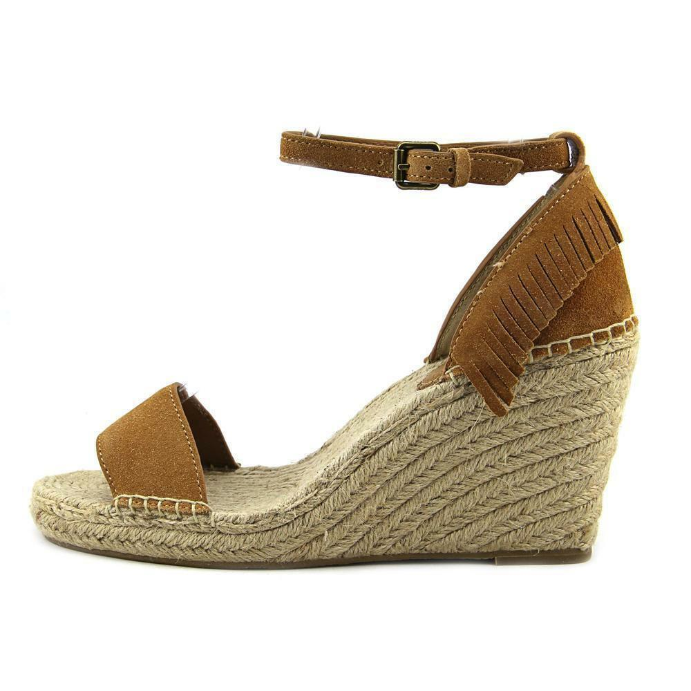 Frye Lila Feather Wedge Donna Donna Donna Open Open Donna Toe Suede Tan Wedge 181e05