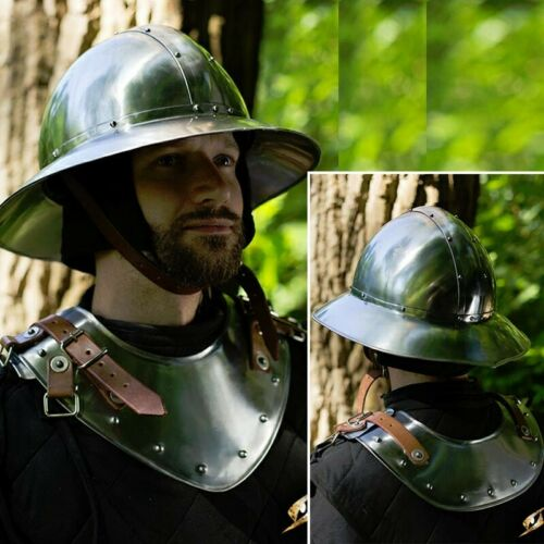Costume Re-enactment /& LARP Polished Warrior/'s Gorget Neck Armour for Stage