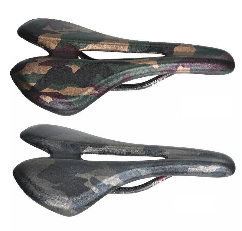 Camouflage Carbon  leather road Mountain Bike Racing Seat Hollow Saddle Cushion  fast shipping to you