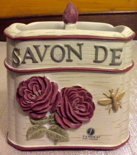 French Floral Bathroom Toothbrush Holder Beautiful Hand Painted New