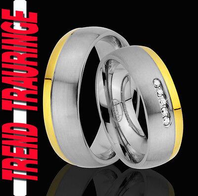 2 Ringe Eheringe Trauringe Verlobungsringe Gold Platiert Gravur Gratis Te63-5