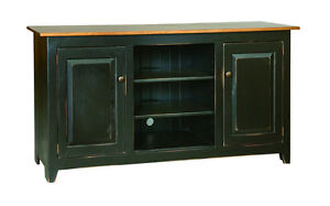TELEVISION STAND MEDIA CENTER  60 Custom Finished Maple Top Primitive Amish