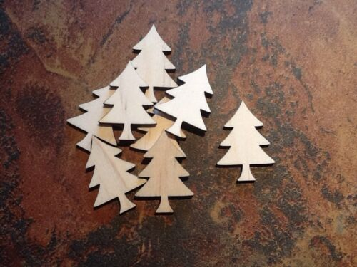 25x Wooden 4mm Birch Xmas Trees Decoration Craft Embellishments 40x30mm
