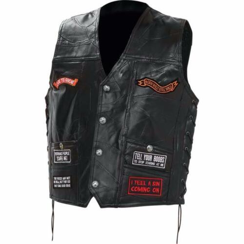Bikers country grande taille M Live To Ride Gilet Jacket en Cuir SKULL 3XL