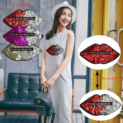 Lips Sewing Clothes Applique Badge Sequins Patch Reversible Color Embroidery DIY
