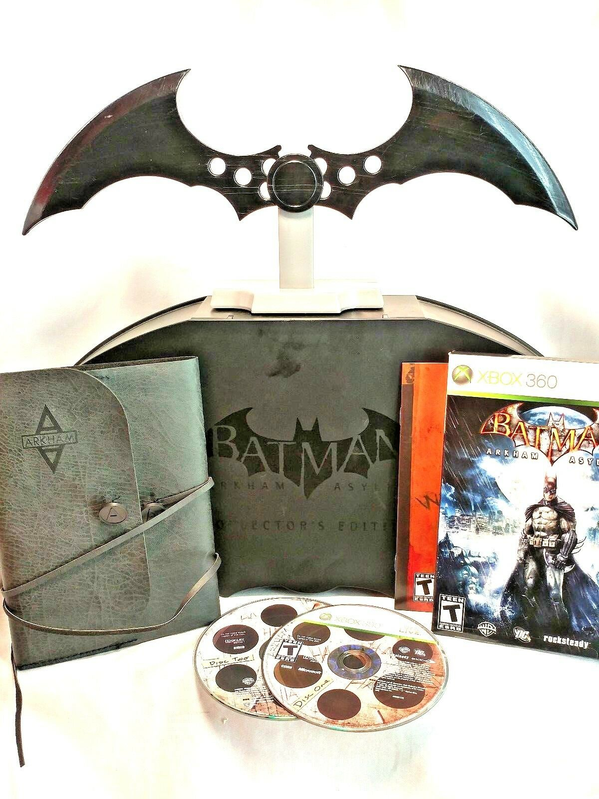 DC Universe Batman Arkham Asylum XBox 360 Game + Collectors Box w  Batarang EUC