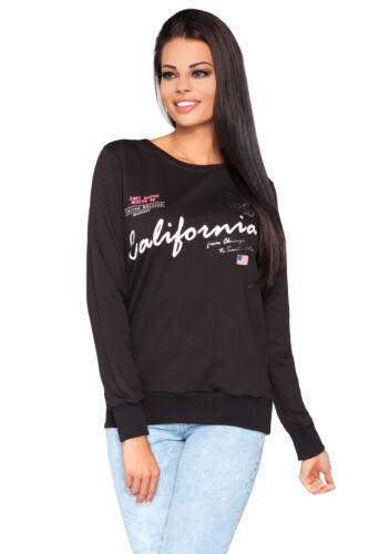 Felpa da Donna Stampa California blusa sweater maglione taglia unica 8-12 1934