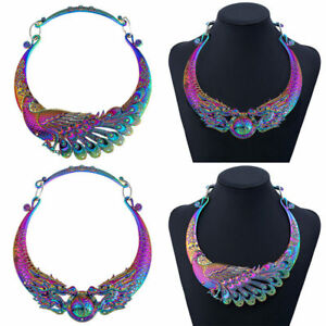 Vintage-Women-Rainbow-Peacock-Carved-Necklace-Collar-Choker-Statement-Jewelry
