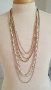 7-STRAND-PINK-28-034-GLASS-BEADED-BIB-NECKLACE-PEARLS-AMBER-PINK-SILVERTONE-CHAINS