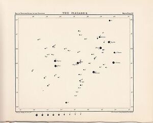Antique-Astronomy-PLEIADES-Print-Plate-1925-Ball-039-s-Guide-to-Heavens