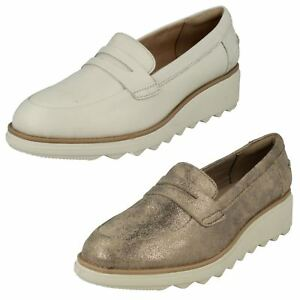 5a20e04d5c423 LADIES CLARKS SUEDE SLIP ON CASUAL MOCCASIN WEDGE PUMPS SHOES SHARON ...