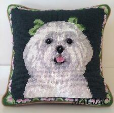 """Maltese Dog Needlepoint Pillow 10""""x10"""" NWT"""