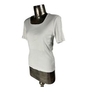 Emreco Cotton White Top T-Shirt NEW UK M 12 (EU40) Women's RRP £22 Square Neck