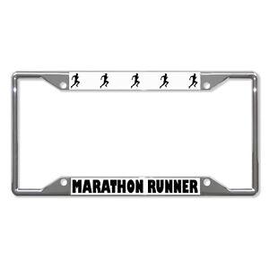 Marathon Runner Metal License Plate Frame Tag Holder Four