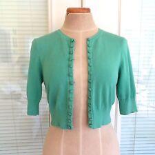Nanette Lepore Green Button Down Bolero Crop Cardigan Sweater Top. Medium EUC