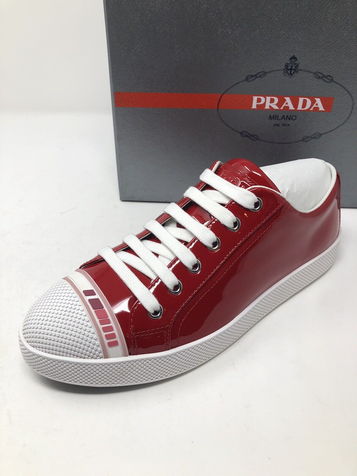 575 New PRADA Womens Vernice Red Sneakers Ladies shoes Size 7 US 37 UK