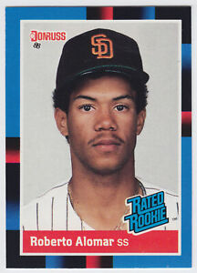 1988-Donruss-34-Roberto-Alomar-Rookie-Card-RC-Toronto-Blue-Jays-Hall-of-Fame