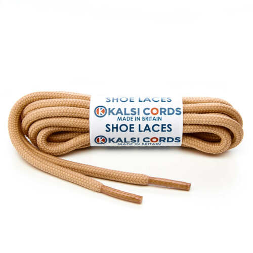 DARK BEIGE ROUND CORD SHOE LACES STRONG THICK ROPE LACE PAIR SPORT TRAINER BOOT