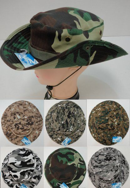 60pc Lot Camo Fishing Hats Army Military Camouflage Floppy Boonie Hat w  Snap