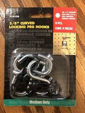 Crawford 58 Locking Peg Hook 8 Pc For Peg Board Curved Heavy Duty 14158 New
