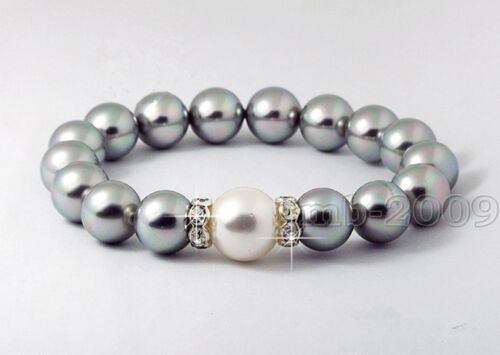 """8 mm Genuine Silver Gray Round South Sea Shell Perle Extensible Bracelet 7.5/"""" AA"""