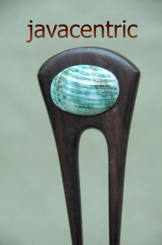 Handmade short wooden HAIR JEWELRY PIN FORK PICK real GREEN sea shell Sono wood