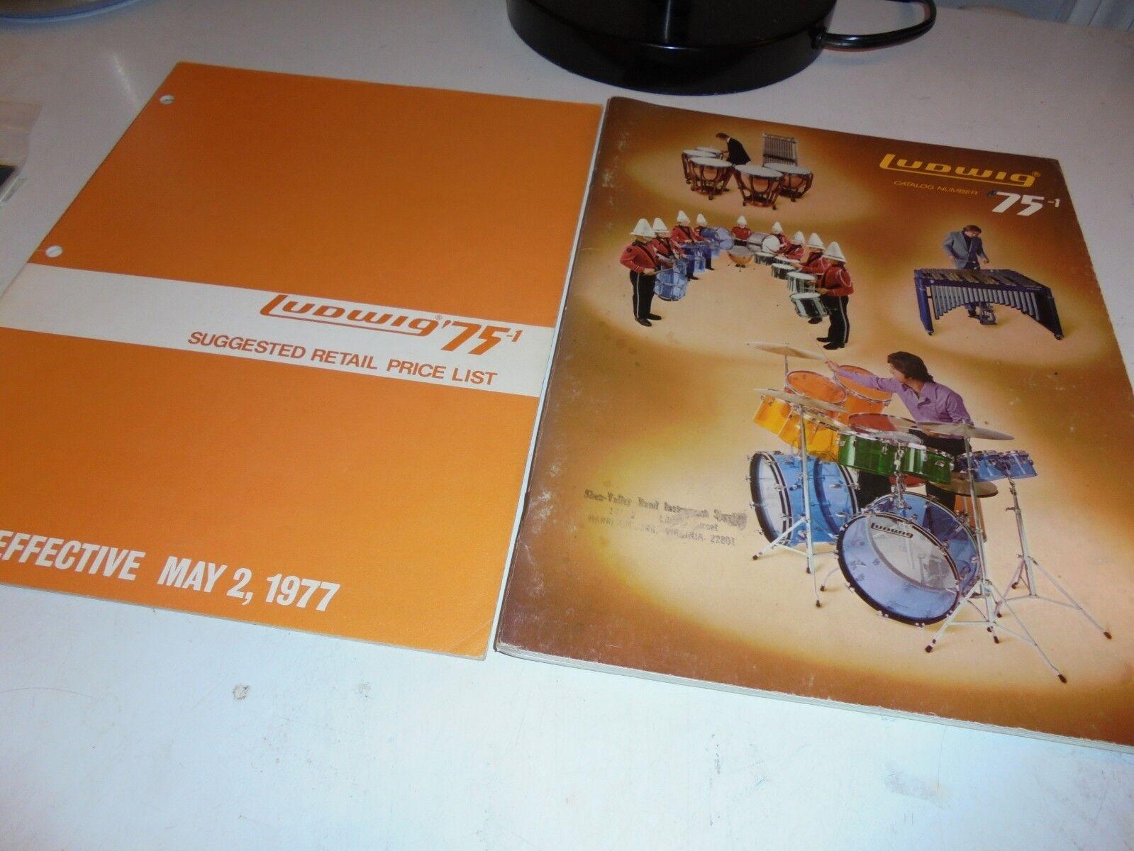 VINTAGE LUDWIG 75-1 DRUM CATALOG-VISTALITE DEBUT JELLY BEAN KIT-PRICE LIST-EXCEL