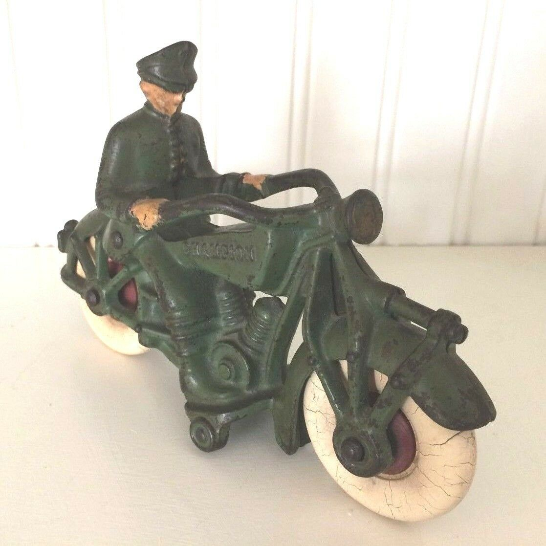 VINTAGE CAST IRON TOY-CHAMPION MOTORCYCLE 7'' POLICEMAN RIDER-ARMY verde-HUBLEY