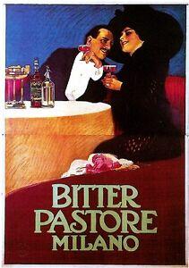 1900's Italy Bitter Pastore Milano Food & Wine Advertisement Art Poster Print