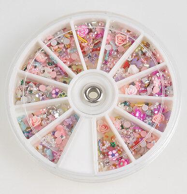 1200pcs Wheel Mixed Nail Art Tips Glitters Rhinestones Slice Decoration gems