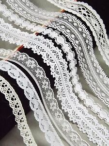 NARROW-10-20mm-LACE-RIBBON-TRIM-White-Bridal-Shabby-Chic-Cards-Sewing-florist
