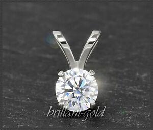 Diamant-585-Gold-Brillant-Reiter-Anhaenger-mit-0-32ct-14-Karart-Weissgold-Neu