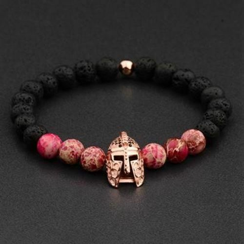4 Colors Roman Knight Spartan Warrior Gladiator Beaded Bracelet Men Lava Stone E