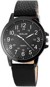 Excellanc-Herrenuhr-Schwarz-Titan-Look-Kunst-Leder-Armbanduhr-Quarz-X2900076003