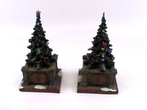 Christmas Village Accessories.Details About Christmas Village Accessories Pair Decorated Evergreen Trees In Planters