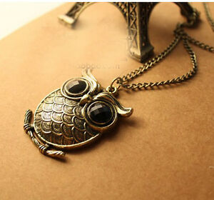 Free-Fashion-jewelry-Owl-Bronze-Retro-long-Pendant-sweater-Necklace-N22