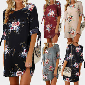 Plus-Size-Womens-Holiday-Floral-Dresses-Ladies-Loose-Bowknot-Sleeves-Party-Dress