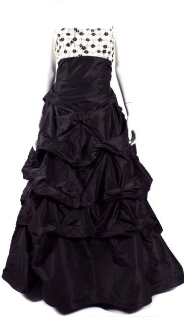 MONIQUE LHUILLIER Black & White Beaded Satin Formal Ball Gown 12