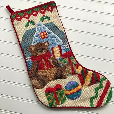 Vintage Christmas Stocking with Appliquéd Bear