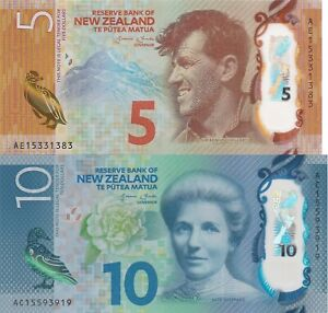 New-Zealand-2-Note-Set-5-and-10-Dollars-2015-p191-p192-UNC