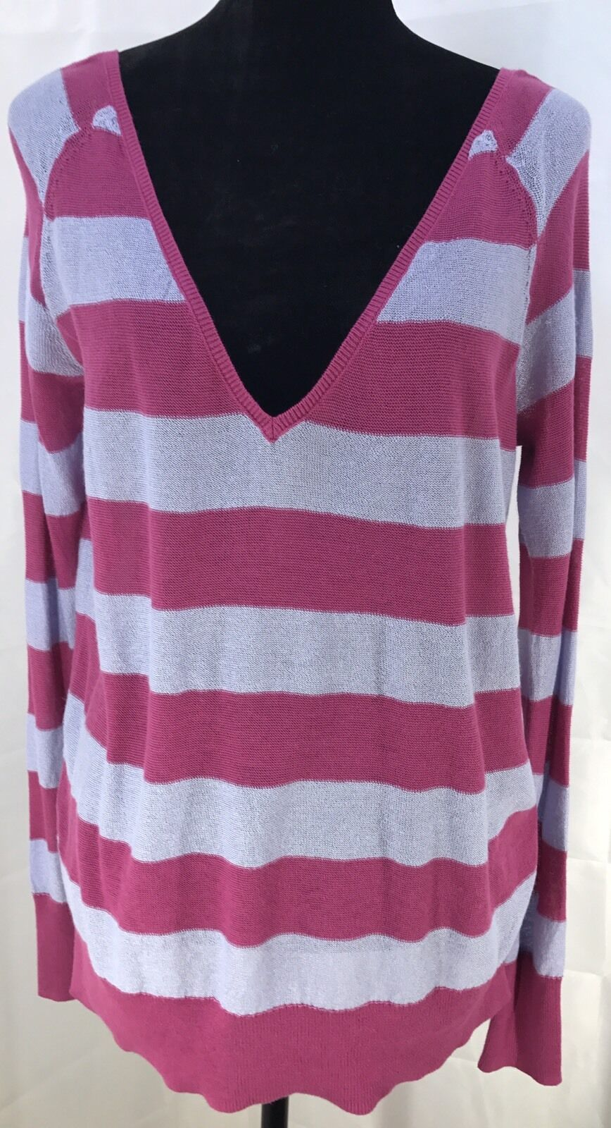 Free People Light Knitted Long Sleeve Sweater Shirt In Size S Pink And purplec