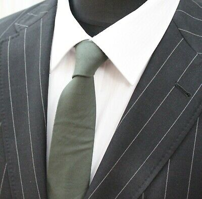 Tie Cravatta Slim Tinta Unita Qualità Verde Scuro Cotone T6086-mostra Il Titolo Originale
