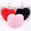 Fluffy Keychain Heart Shape Pompom Key Ring Faux Rabbit Fur Car Handbag Pendant