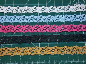 1m-Flower-Motif-for-Applique-Trimming-Satin-Lace-Ribbon-width-22mm-5-Colours